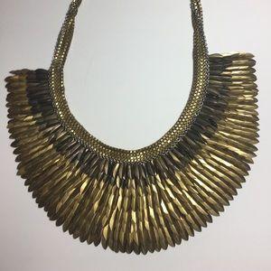 "Stella & Dot Gold Bib Feather ""Pegasus"" Necklace"
